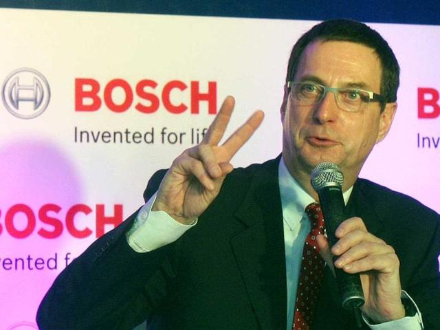 Dr Bernd Bohr chairman of the Automotive Group and member of Board of Management Robert Bosch GmbH, addressing the press conference about the Bosch India's plan to Invest Rs.2,200 crores in 2012-2013 in India. HT Photo/Sushil Kumar