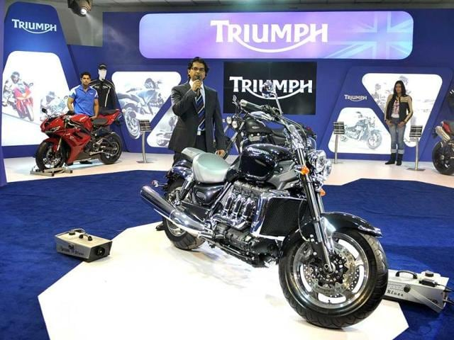 Managing director Triumph motorcycles Ashish Joshi speaks during the launch of 'Rocket III' at the 2012 Auto Expo in New Delhi. AFP Photo/ Sajjad Hussain