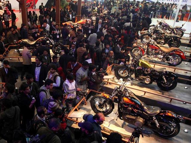 Harley Davidson launched range of new bikes during Auto Expo 2012 at Pragati Maidan in New Delhi on Thursday. HT Photo Jasjeet Plaha
