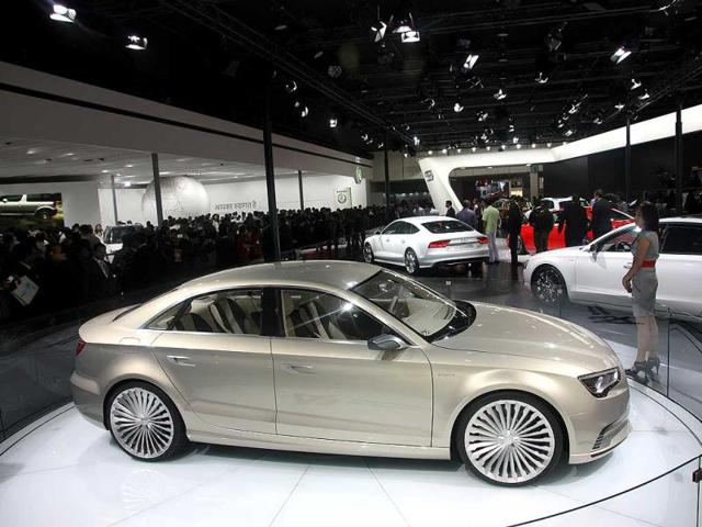 Audi cars on display at Auto Expo 2012 at Pragati Maiden in New Delh. HT Photo / M Zhazo