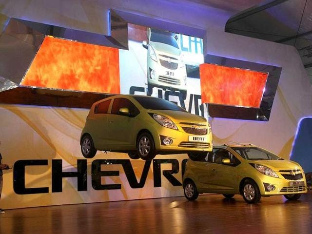 BEAT being displayed at Chevrolet pavilion at Auto Expo 2012 at Pragati Maiden in New Delhi. HT Photo / M Zhazo