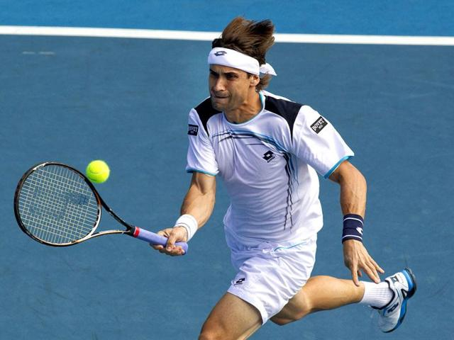 Spain-s-David-Ferrer-plays-a-shot-against-Belgium-s-Olivier-Rochus-during-the-singles-final-at-the-Heineken-Open-in-Auckland-Reuters
