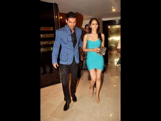 John Abraham makes a style statement in a blue bandhgala over black pants.