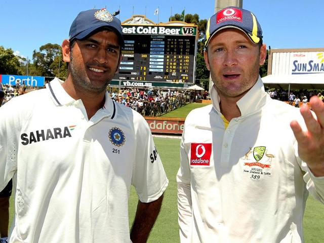 MS-Dhoni-and-Australian-captain-Michael-Clarke-chat-after-Australia-won-the-third-cricket-Test-match-in-the-Border-Gavaskar-Trophy-Series-at-the-WACA-ground-in-Perth-AFP-photo