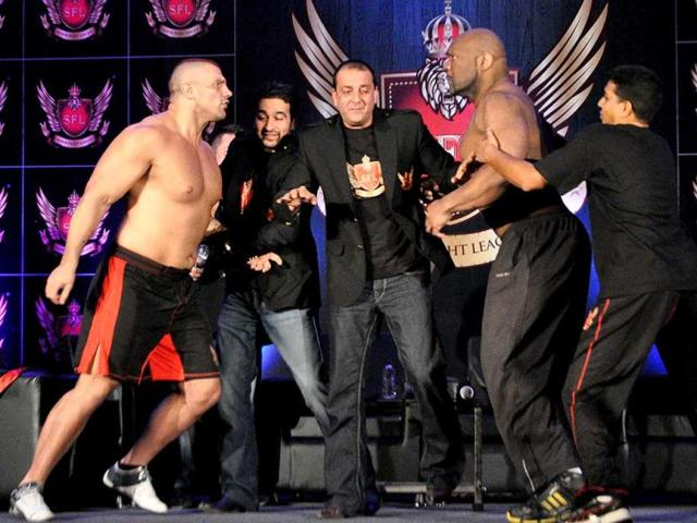 From-left-Super-Heavy-Weight-fighter-James-Thomson-founder-of-Super-Fight-Promotions-pvt-ltd-Raj-Kundra-actor-Sanjay-Dutt-and-co-founder-and-chairman-of-Super-Heavy-Weight-Fighter-Bob-Sapp-pose-during-the-launch-of-India-s-first-professionally-organized-mixed-martial-art-fighting-league-Super-Fight-League-SFL-in-Mumbai-AFP-Photo