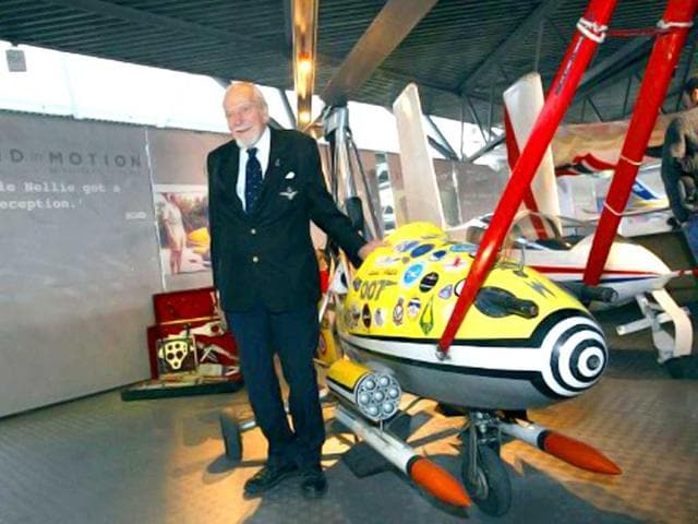 Kenneth Wallis poses for photographers with his invention, Little Nellie, at the opening of the Bond in Motion exhibition at the Beaulieu National Motor Museum at Brockenhurst in the southern English county of Hampshire. AFP photo