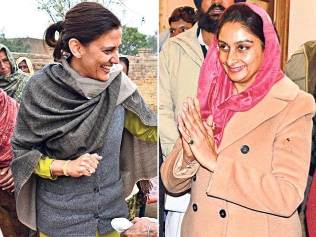 Veenu-Badal-wife-of-Manpreet-Singh-Badal-L-and-Harsimrat-Kaur-wife-of-Sukhbir-Singh-Badal-on-mission-Punjab-HT-photo