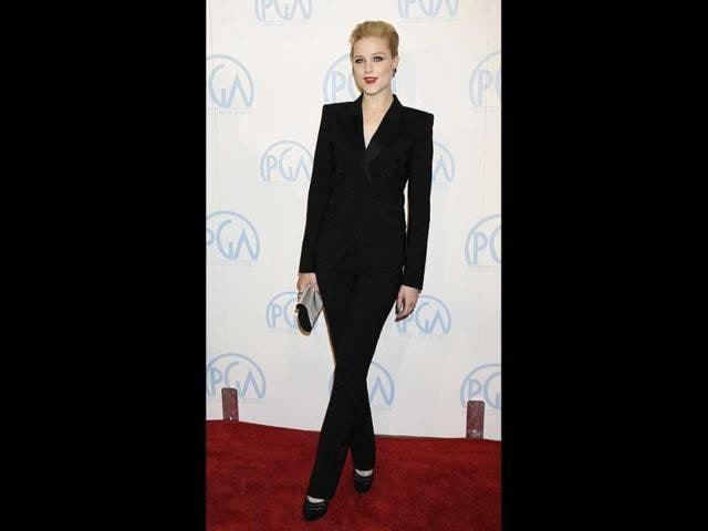 Evan Rachel Wood donned a corporate look this time.