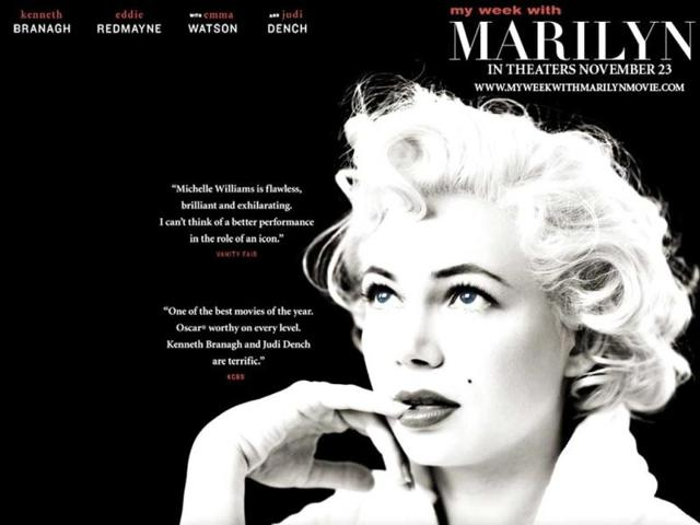 My-Week-with-Marilyn-sees-Monroe-played-by-Michelle-Williams-who-was-nominated-for-Best-Actress-Colin-Clark-an-employee-of-Sir-Laurence-Olivier-s-documents-the-tense-interaction-between-Olivier-and-Marilyn-Monroe-during-production-of-The-Prince-and-the-Showgirl