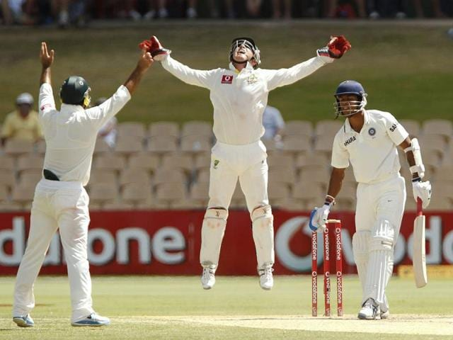 Brad-Haddin-C-of-Australia-celebrates-with-Ricky-Ponting-L-after-catching-Umesh-Yadav-R-of-India-and-winning-the-series-4-0-during-the-fifth-day-of-their-fourth-Test-cricket-match-in-Adelaide-Reuters-photo-Brandon-Malone