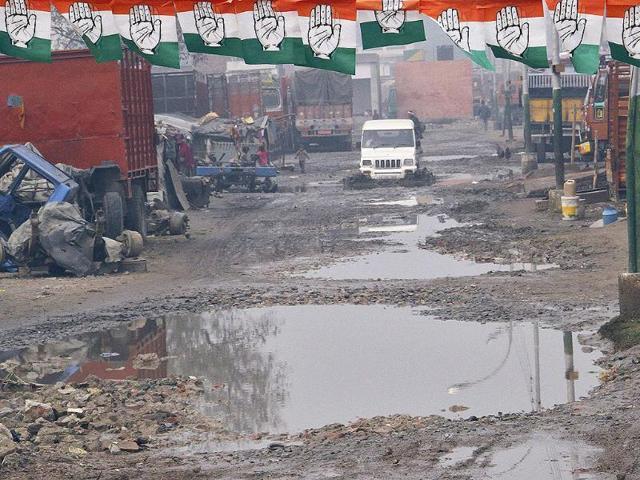 Moga,damaged roads,byelection