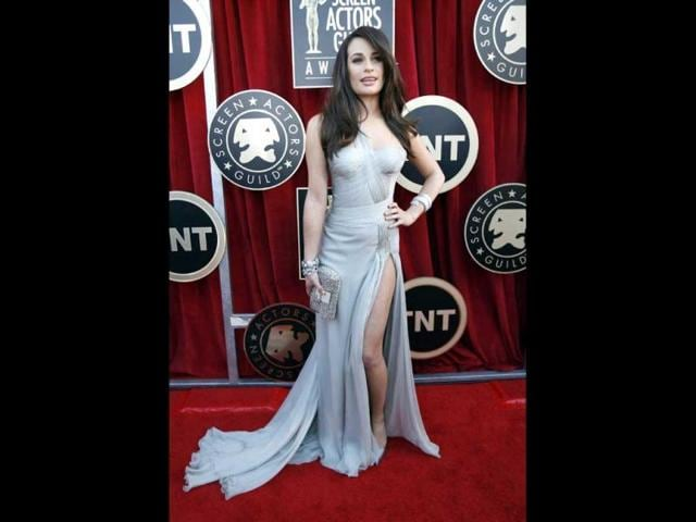 Actress-Lea-Michele-from-the-television-series-Glee-poses-as-she-arrives-at-the-18th-annual-Screen-Actors-Guild-Awards-in-Los-Angeles-California-Reuters