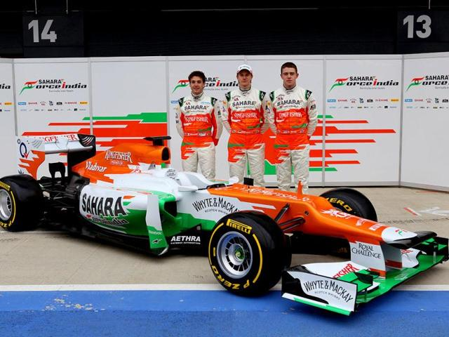 L-R-Jules-Bianchi-FRA-with-Nico-Hulkenberg-GER-and-Paul-di-Resta-GBR-Sahara-Force-India-Formula-One-Team-VJM05-Launch-Silverstone-UK-Sahara-Force-India-Formula-One-Team-Copyright-Free-Image