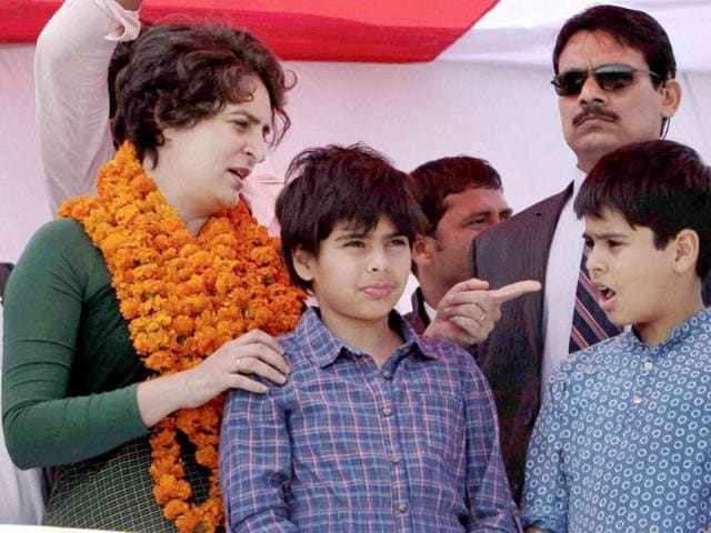 Priyanka-Gandhi-Vadra-watches-her-kids-wave-to-the-crowd-at-an-election-campaign-rally-in-Rasulpur-Amethi-PTI-Atul-Yadav