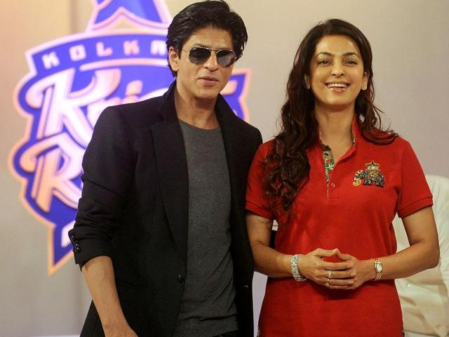 Kolkata-Knight-Riders-owners-Shah-Rukh-Khan-and-Juhi-Chawla-recently-launched-the-brand-new-look-of-the-IPL-team-Take-a-look-at-the-Bollywood-duo