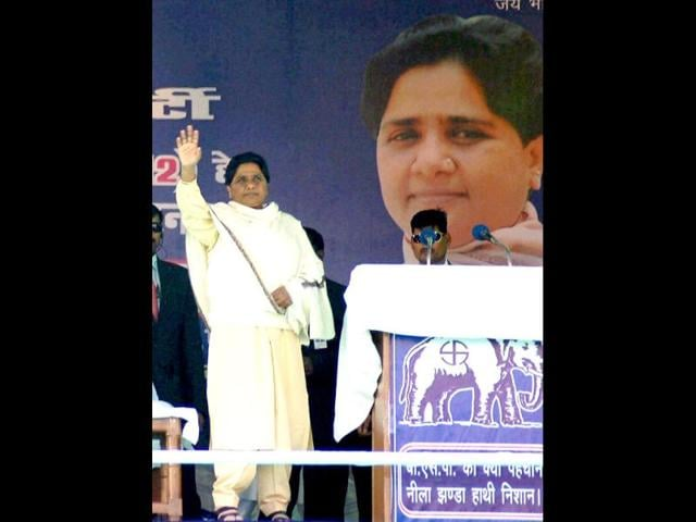Uttar-Pradesh-chief-minister-and-BSP-chief-Mayawati-waves-at-an-election-campaign-rally-in-support-of-party-candidates-in-Kanpur-PTI-photo