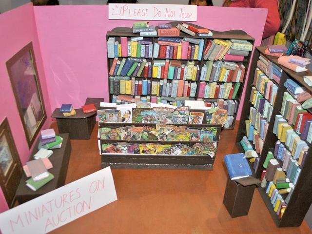 A-miniature-model-of-a-library-is-seen-at-a-stall-during-the-2nd-annual-Indian-Comic-Con-in-Delhi-HT-Divya-Jain