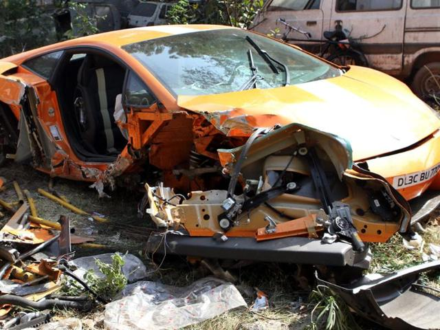 A-Lamborghini-is-seen-after-it-rammed-into-a-railing-in-New-Delhi-in-Feb-2012-The-26-year-old-driver-was-killed-and-a-cyclist-was-injured-in-the-accident-HT-Mohd-Zakir