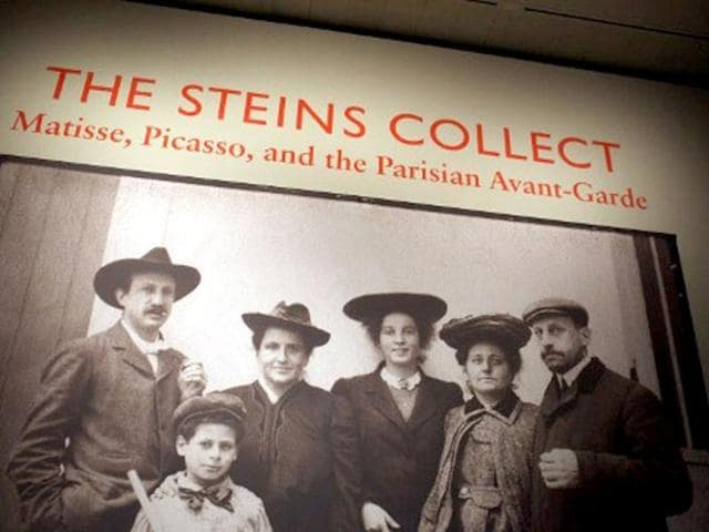 A-family-portrait-is-displayed-at-the-preview-of-The-Steins-Collect-Matisse-Picasso-and-the-Parisian-Avant-Garde-at-the-Metropolitan-Museum-of-Art-in-New-York-City-The-exhibition-focuses-on-the-collections-of-Gertrude-Stein-and-her-brothers-Leo-and-Michael-and-Michael-s-wife-Sarah-features-works-by-Paul-Cezanne-Edgar-Degas-Paul-Gauguin-Henri-de-Toulouse-Lautrec-Edouard-Manet-and-Auguste-Renoir-Spencer-Platt-Getty-Images-AFP
