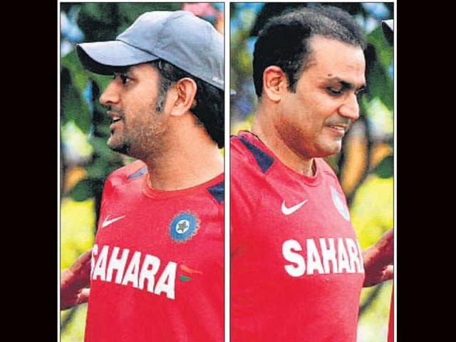 MS-Dhoni-left-and-Virender-Sehwag-reportedly-have-differences-It-seems-to-be-hurting-the-Indian-team-as-they-are-on-a-downward-spiral-India-s-next-match-is-on-Sunday-File-photo