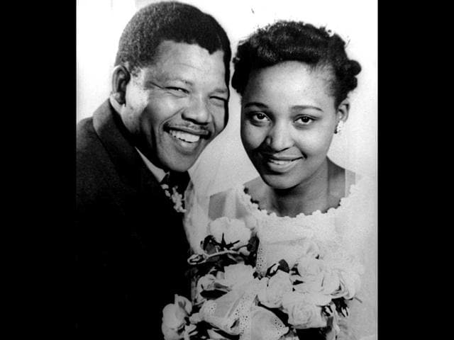 File photograph of Nelson Mandela and his bride Winnie on their wedding day. Anti apartheid campaigner Mandela was imprisoned for 27 years. (Reuters)