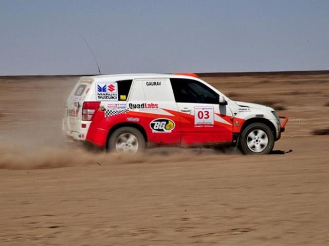 Gaurav Chiripal's Vitara managed to fall just short of the 150 kmph mark on the flat out sections of the eighth special stage. HT/Vinayak Pande