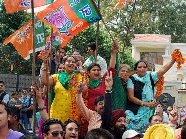 BJP-supporters-celebrate-SAD-BJP-alliance-s-success-in-the-Punjab-assembly-elections-in-Amritsar-PTI-Deepak-Sharma