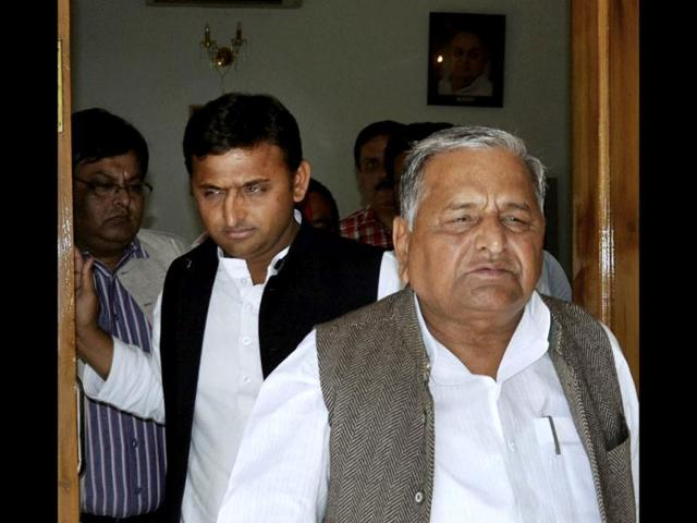 SP-president-Mulayam-Singh-Yadav-and-general-secretary-of-the-party-and-son-Akhilesh-Yadav-leave-their-residence-in-Lucknow-AP