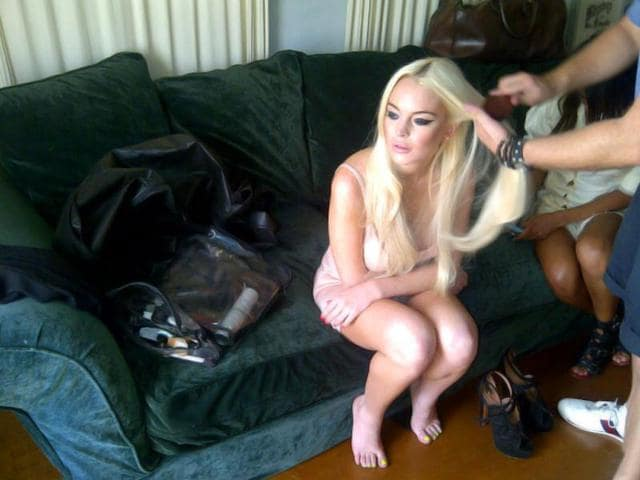 "Lindsay Lohan: ""On the set of The Miggs video shoot, getting ready for day 2!"""