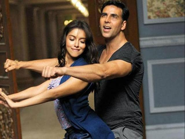 Akshay and Asin in a dance sequence from the movie.