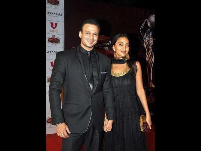 Actor-Vivek-Oberoi-with-his-wife-Priyanka-AFP-Photo