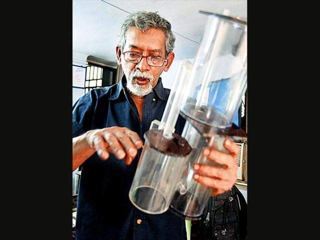 Suprio-Das-at-his-home-lab-An-electrical-engineer-he-factored-out-electricity-to-make-his-low-cost-inventions-Just-as-this-chlorine-doser-above-Subhendu-Ghosh-HT-Photo