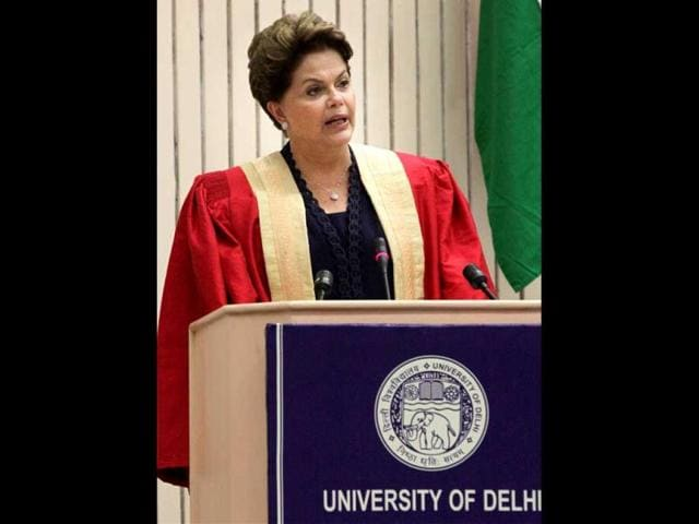 President-of-Brazil-Dilma-Rousseff-currently-in-India-to-attend-fourth-BRICS-summit-addresses-the-media-after-receiving-an-honourary-Doctorate-of-Letters-during-a-special-convocation-of-the-University-of-Delhi-AFP-Photo