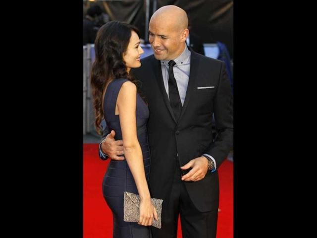 US actor Billy Zane and Jasmina Hdagha smile at each other. (AP Photo)