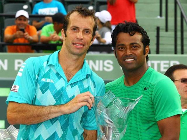 Leander-Paes-of-India-and-Radek-Stepanek-of-the-Czech-Republic-celebrate-their-win-against-Max-Mirnyi-of-Belarus-and-Daniel-Nestor-of-Canada-during-the-Men-s-Doubles-Finals-on-Day-13-at-Crandon-Park-Tennis-Center-at-the-Sony-Ericsson-Open-in-Key-Biscayne-Florida-AFP-Al-Bello