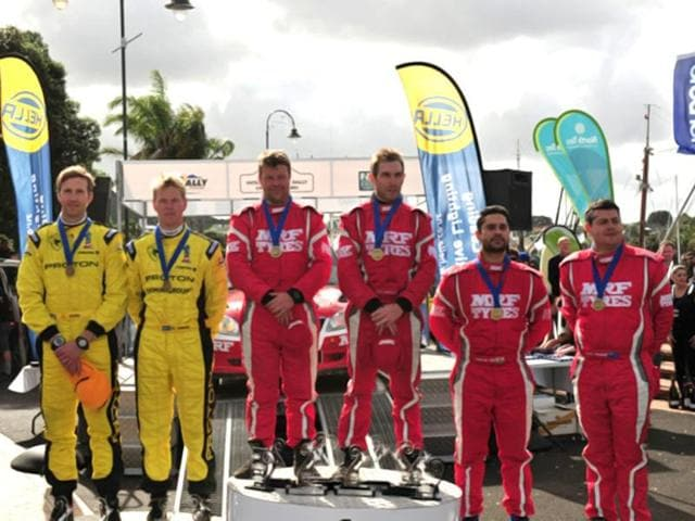 Atkinson topped the podium at Whangarei for the second year in a row. Gill joined him in third to make it a double podium finish for Team MRF. HT Photo/Vinayak Pande