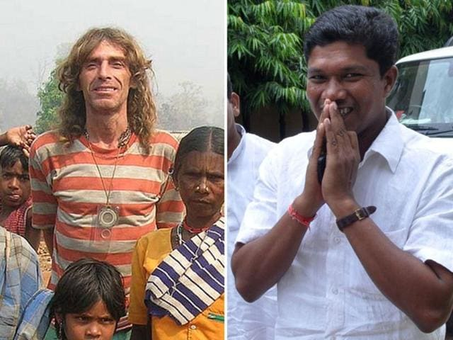 This-combo-picture-shows-Italian-national-Paolo-Bosusco-L-at-an-undisclosed-location-and-Odisha-state-legislature-member-Jhina-Hikaka-gesturing-to-journalists-in-Bhubaneswar-Chief-minister-Naveen-Patnaik-called-for-the-two-hostages-to-be-released-immediately-unharmed-and-in-good-health-AFP-photo