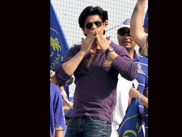 Kolkota Knight Riders owner SRK blows a kiss to his fans during the IPL T-20 match with Rajasthan Royals in Jaipur.
