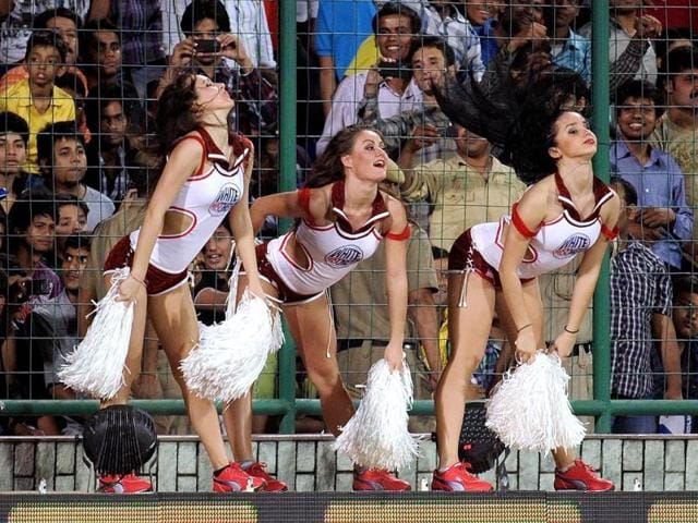 Delhi Daredevils cheerleaders perform during the IPL Twenty20 cricket match between Chennai Super Kings and Delhi Daredevils at the Feroz Shah Kotla stadium in New Delhi.AFP Photo/Manan Vatsyayana