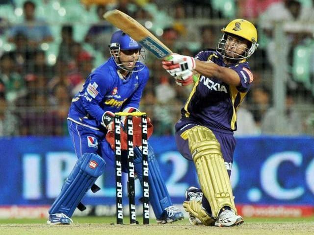 Kolkata-Knight-Riders-batsman-Shakib-Al-Hasan-is-watched-by-Rajasthan-Royals-wicketkeeper-Shreevats-Goswami-as-he-plays-a-shot-during-the-IPL-Twenty20-cricket-match-at-the-Eden-Gardens-in-Kolkata-AFP-Photo-Dibyangshu-Sarkra