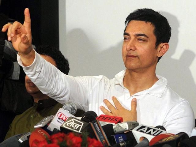 Aamir Khan speaks during a press conference to promote his upcoming television show Satyamev Jayate.
