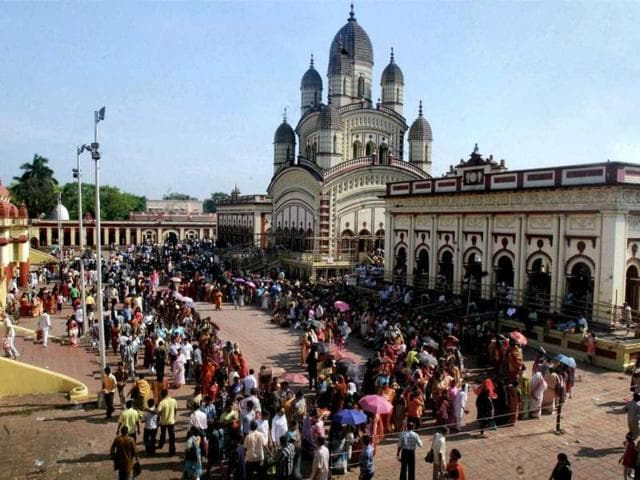 Devotees stand in long queues on the occasion of