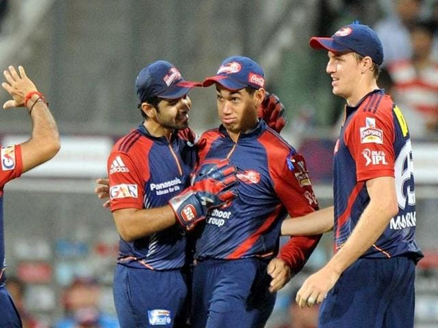 Delhi-Daredevils-captain-Virender-Sehwag-L-celebrates-with-team-mates-Ross-Taylor-2-R-Morne-Morkel-R-and-Naman-Ojha-after-the-wicket-of-Mumbai-Indians-batsman-Kieron-Pollard-during-the-IPL-Twenty20-cricket-match-between-Mumbai-Indians-and-Delhi-Daredevils-at-the-Wankhede-Stadium-in-Mumbai-AFP-Photo-Punit-Paranjpe
