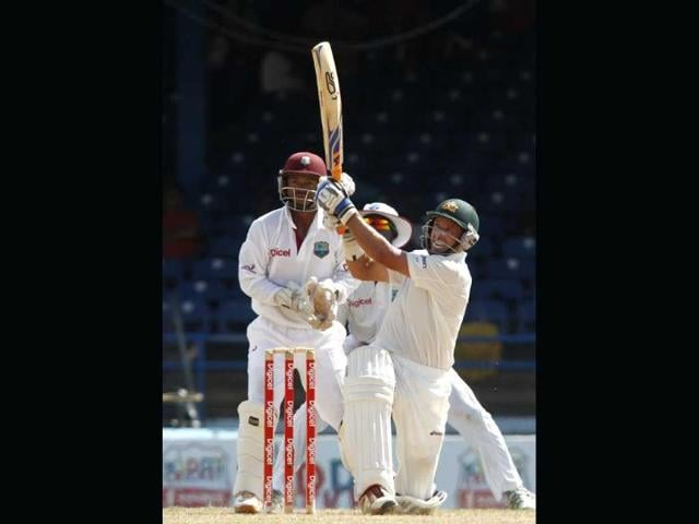 Australia-s-Michael-Hussey-plays-a-shot-for-six-runs-during-the-second-day-of-the-second-cricket-Test-match-against-the-West-indies-in-Port-of-Spain-Trinidad-AP-Arnulfo-Franco