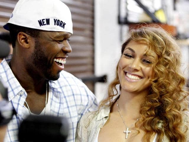 Rapper-Curtis-50-Cent-Jackson-and-Shantel-Jackson-fiance-of-boxer-Floyd-Mayweather-Jr-attend-Mayweather-s-media-workout-at-his-gym-in-Las-Vegas-Nevada-Mayweather-will-challenge-Miguel-Cotto-of-Puerto-Rico-for-Cotto-s-WBA-junior-middleweight-title-at-the-MGM-Grand-Garden-Arena-in-Las-Vegas-on-May-5-Reuters-Steve-Marcus
