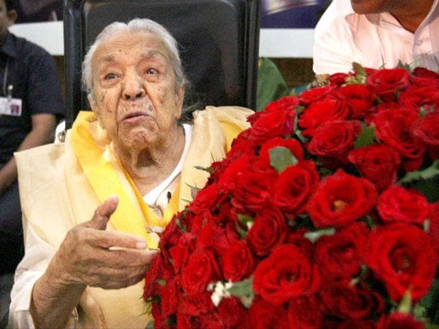 File photo: Veteran actress Zohra Sehgal during a function on her 100th birthday in New Delhi. PTI Photo/Subhav Shukla