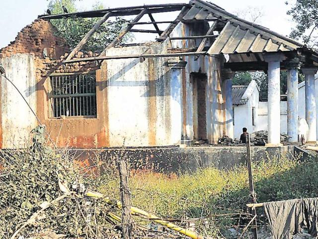 A-forest-service-office-in-Latehar-that-was-burnt-down-recently-by-the-Maoists-just-one-of-the-many-examples-of-infrastructure-being-destroyed-by-the-Reds-HT-Photo-B-Vijay-Murty