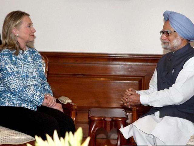 PM-Manmohan-Singh-and-US-Secretary-of-State-Hillary-Clinton-at-the-formers-residence-in-New-Delhi-PTI-Photo