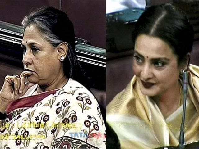 A-combination-picture-shows-Bollywood-actors-and-Rajya-Sabha-members-Jaya-Bachchan-and-Rekha-in-the-House-in-New-Delhi-PTI-TV-grab