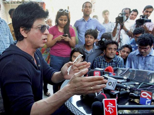 Bollywood actor Shah Rukh Khan during a press conference at his residence in Mumbai. Shah Rukh Khan faced a police probe and a lifetime ban from Mumbai